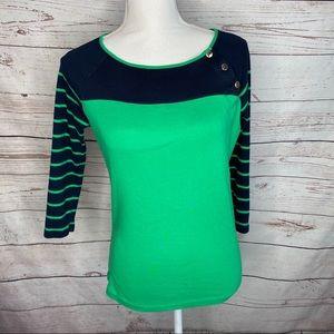 Lauren LRL Green and Navy 3/4 Sleeve Top Sz L